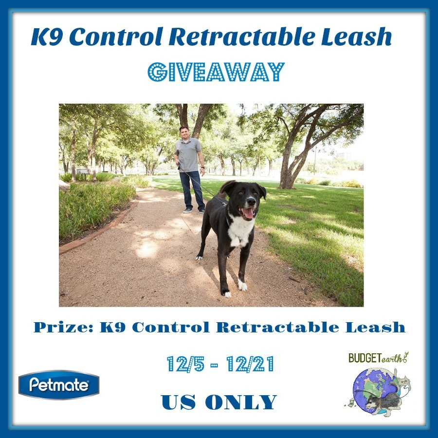One lucky reader will win a K9 Control Retractable Leash in choice of size.