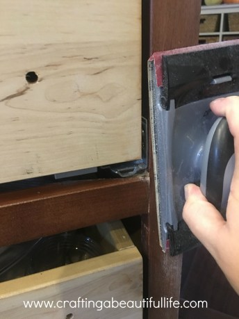 Sanding cabinet bases and doors