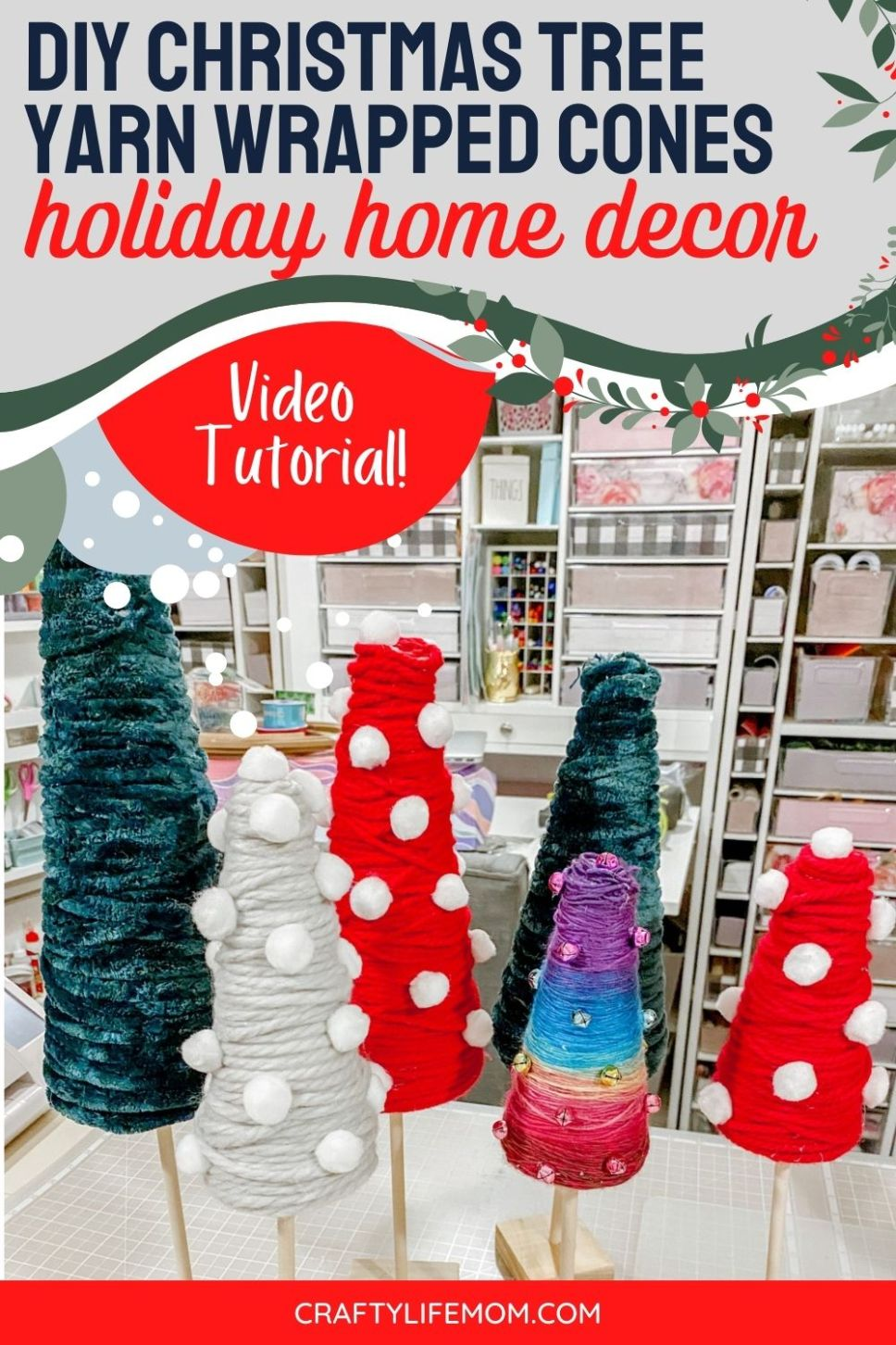 Create beautiful yarn-wrapped Christmas Tree Cones in all sizes and colors for your Christmas holiday home decor. This tutorial shows you step by step how to wrap yarn on different sized cones and add embellishments to fit your personal holiday decorating style.