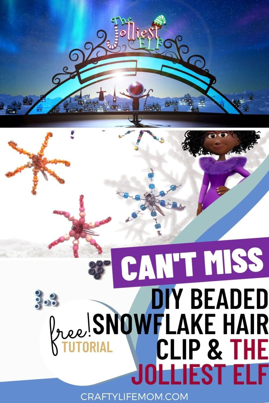 Create this DIY Beaded Snowflake hairclip inspired by the animation short film The Jolliest Elf and Glo the famous elf. #beadedhairclip #beadedclip