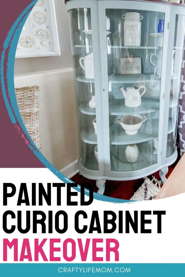 DIY Curio Cabinet Makeover using just paint and one afternoon. Read the tutorial on how I transformed this cabinet! #hutch #furnituremakeover #paintedcabinet #chinacabinet #diyhutchmakeover #curiocabinetmakeover