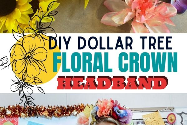 DIY tutorials to make a floral crown using items from the dollar tree. This project cost less than $3 to make.