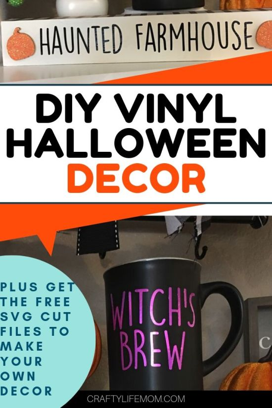 Create these cute DIY Halloween Vinyl Decor items for your home coffee bar or #tiertray this halloween season. This girl also give you the free files to use with your silhouette or cricut machine. #Cricuthalloweencrafts #sillhouettecrafts #halloweencrafts #raedunnvinylcrafts