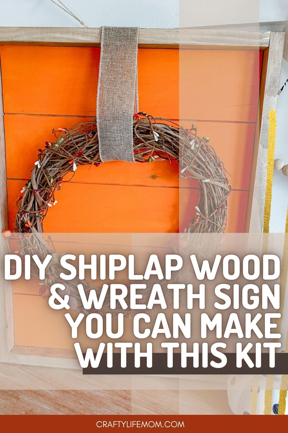 Create Your Own Shiplap Wood Sign with a fall wreath with this DIY Kit. The kits come with everything you need to paint and make your own shiplap sign. Display the sign within your home decor for a unique Fall or Halloween display. #shiplap #shiplapsign
