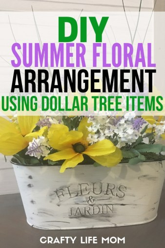 Recreate this DIY Summer Floral arrangement using a Dollar Tree tin and Dollar Tree flowers along with some craft paint and floral supplies.