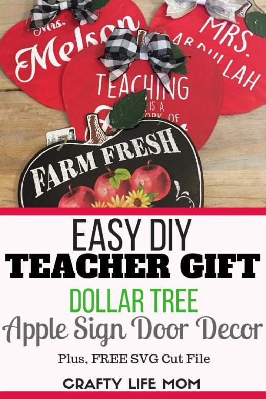 Create this cute DIY Apple Sign for the teacher in your life. Using a Dollar Tree chipboard sign, and this Free SVG cut file, re create the look for less than $2.