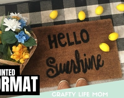 Learn to create your own doormat with paint and stencils. This easy DIY doormat is simple to create, plus includes a free design and SVG cut file. DIY-doormat-painted-stencil #diydoormat #stencil #doormat #DIYfrontdoor #frontporch