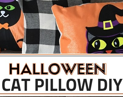 Create these super cute DIY Cat Halloween Pillows using placemats and felt from the Dollar Tree. These pillows are adorable and for less than $6 per pillow this DIY is very affordable. #halloweencrafts #catpillows #dollartreediys #dollartreecrafts