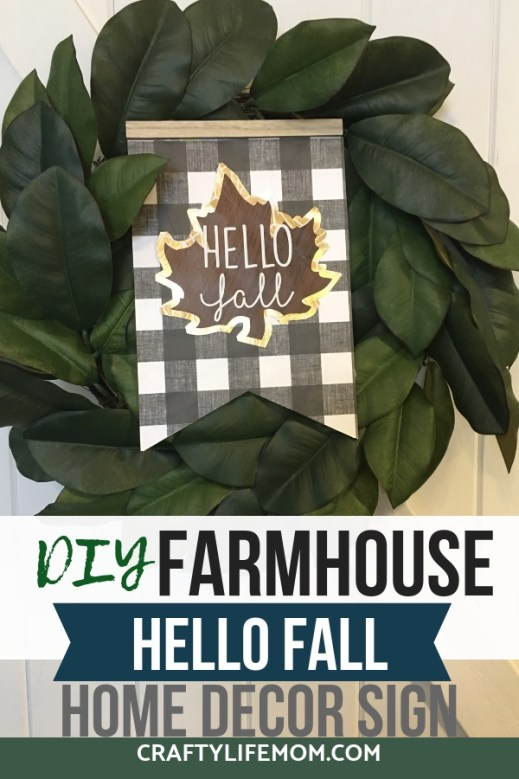 Farmhouse Hello Fall DIY sign using items mostly form the Dollar Tree. Re-create this DIY following this tutorial which includes a full video start to finish.