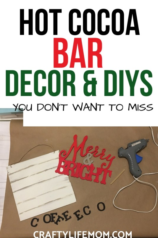 Decorate the space you start your day in with this simple and fun Christmas Coffee Decor DIY. I share a Christmas Coffee Bar Decor Sign and fun ways to style your shelves for the holidays.#christmascoffee #christmasdiys #christmascrafts #hotcocoabar #hotcocoabarideas
