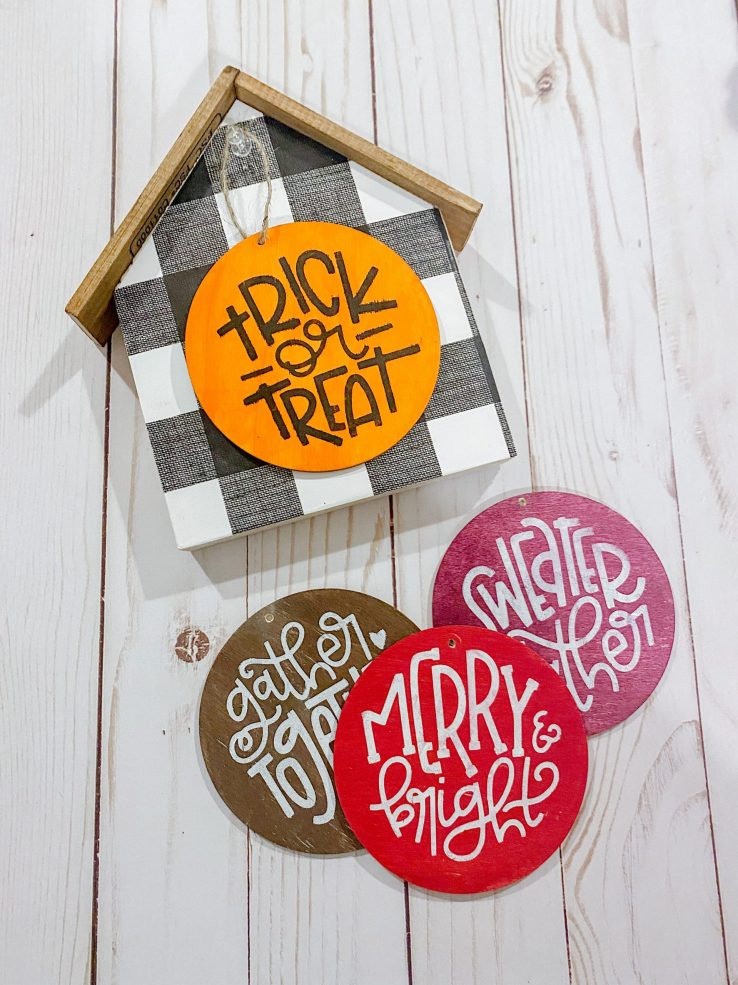 DIY Wooden House and Ornament Stenciling Craft Kit