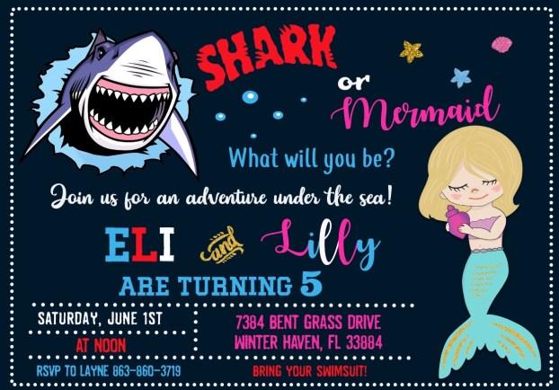 Mermaid Shark Party Invitation for boy girl joint birthday party.