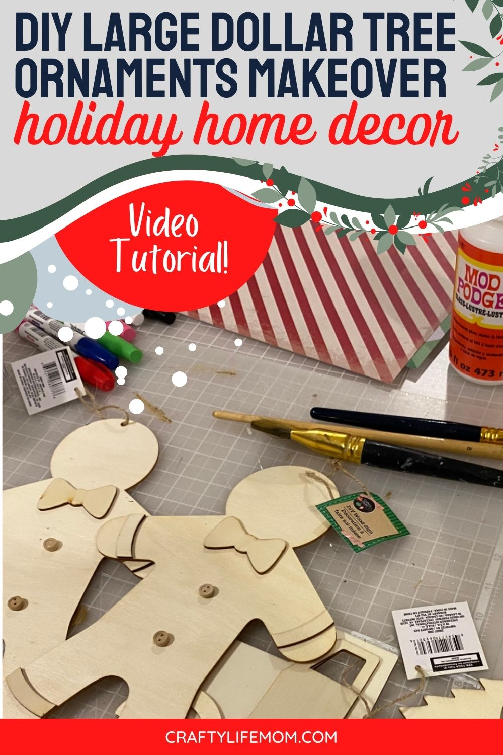 Create Large Dollar Tree Ornaments to hang your Christmas tree for focal point decor. This DIY decor adds variety to your tree and can be personalized to create a look of your own.