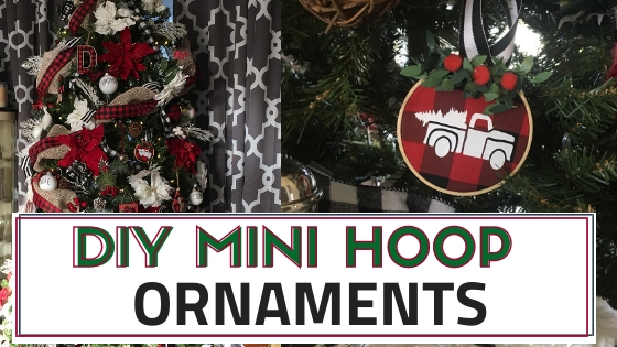 Make your own DIY Mini Embroidery Hoop ornaments using this simple and easy tutorial. Making these are so much fun and take less than 5 minutes to make. #minihoopornaments #embroideryhoopornaments