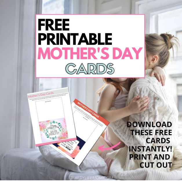 Grab these FREE Mother's Day printable cards. Simply print out, cut with scissors and fold in half. Write your own inside message and give to the mother in your life. #mothersdaycard #freecard #freeprintable #mothersdaycard #mothersday #freeprintables #mothersdaygiftguide