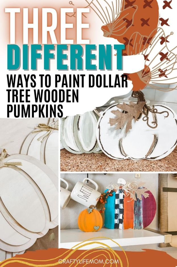 Paint Dollar Tree Pumpkins to make your home decor and create the perfect Fall vignette. These wood pumpkins are perfect for crafting and creating adorable DIY home decor.  #dollartree #pumpkins #woodpumpkins