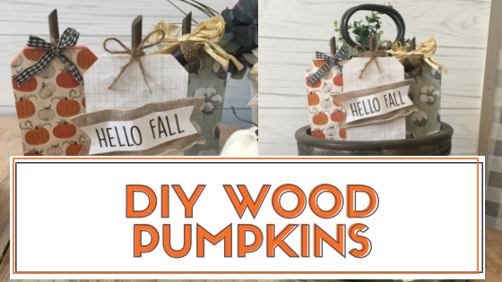 DIY Wood pumpkins using Dollar Tree fall decor pumpkins.