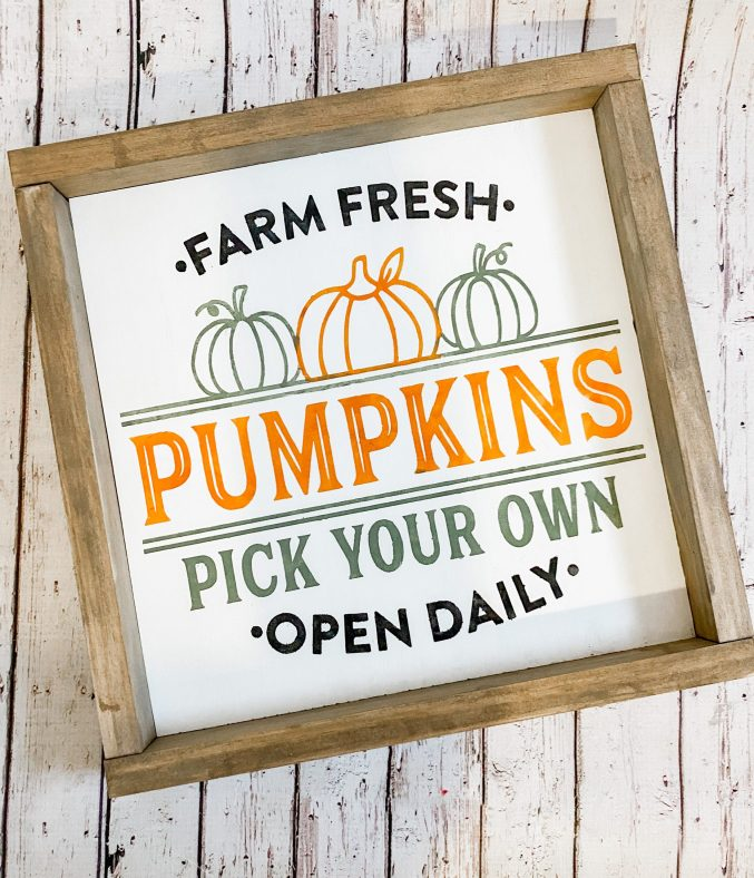 Create this Farm Fresh Pumpkin Patch sign using this tutorial and craft kit.  Update your home for Fall with this easy DIY Pumpkin sign using craft paints and wood.