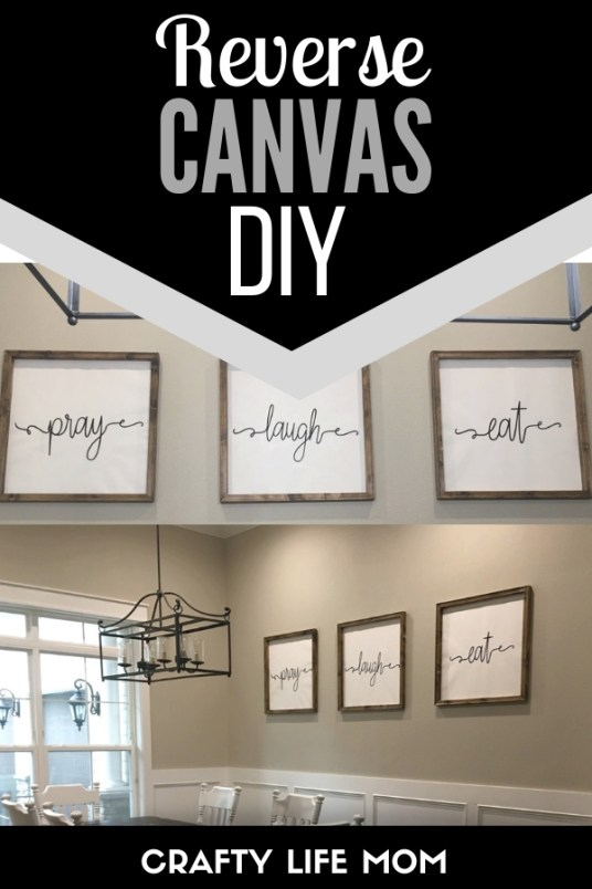 Learn how to create reverse canvas art for your home. This tutorial show you how to get the large sign look for a fraction of the cost. #reversecanvas #reversecanvasdiy