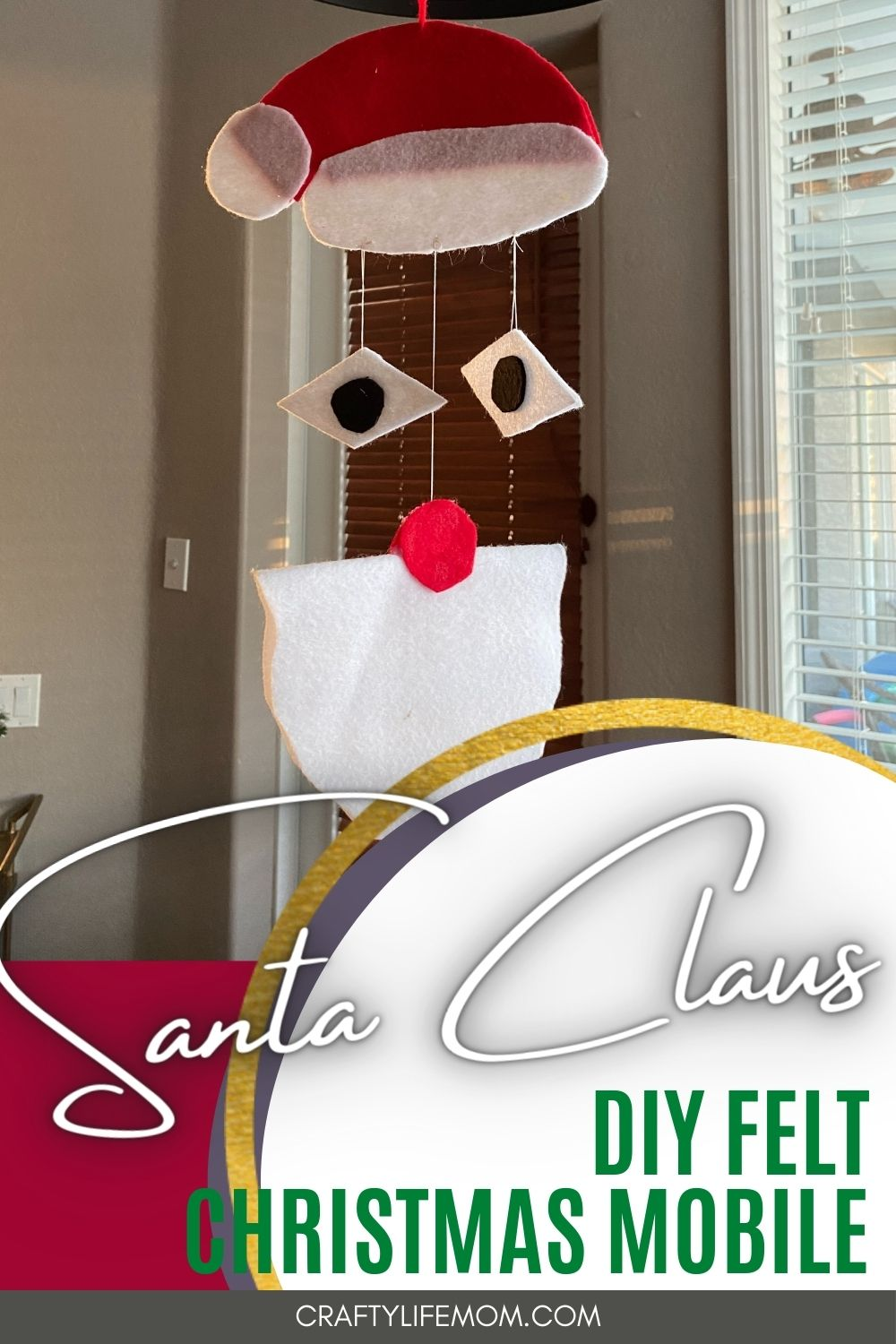 Learn how to create this DIY Santa Mobile using felt plus download the free pattern and SVG cut file from the resource library. This mobile can be hung anywhere and is a great craft for kids.