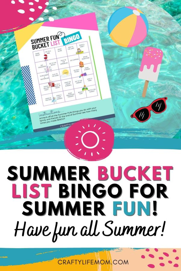 Have Fun this SUmmer with this SUmmer Bucket List Bingo game printable. Keep the Summer activities fun with this list. Come with a fun reward once you earn Bingo or fill up the list. #summerbucketlist #summeractivities #summerfun #bucketlist