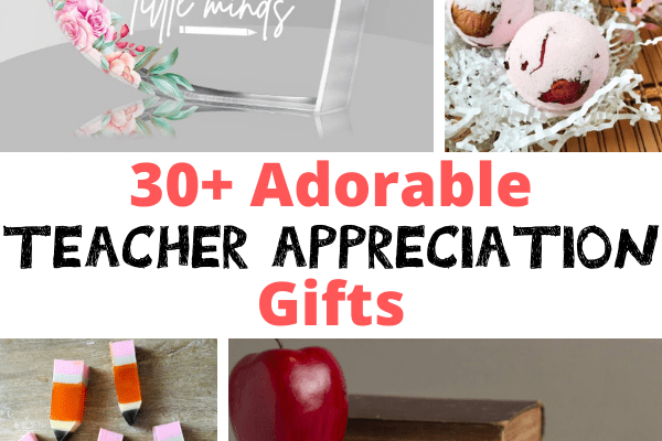 Teacher Appreciation Week is a great time to show how much you appreciate and care for the teachers in your life. This list includes 30+ Teacher Appreciation Gift Ideas that you can make or give to your favorite teacher.