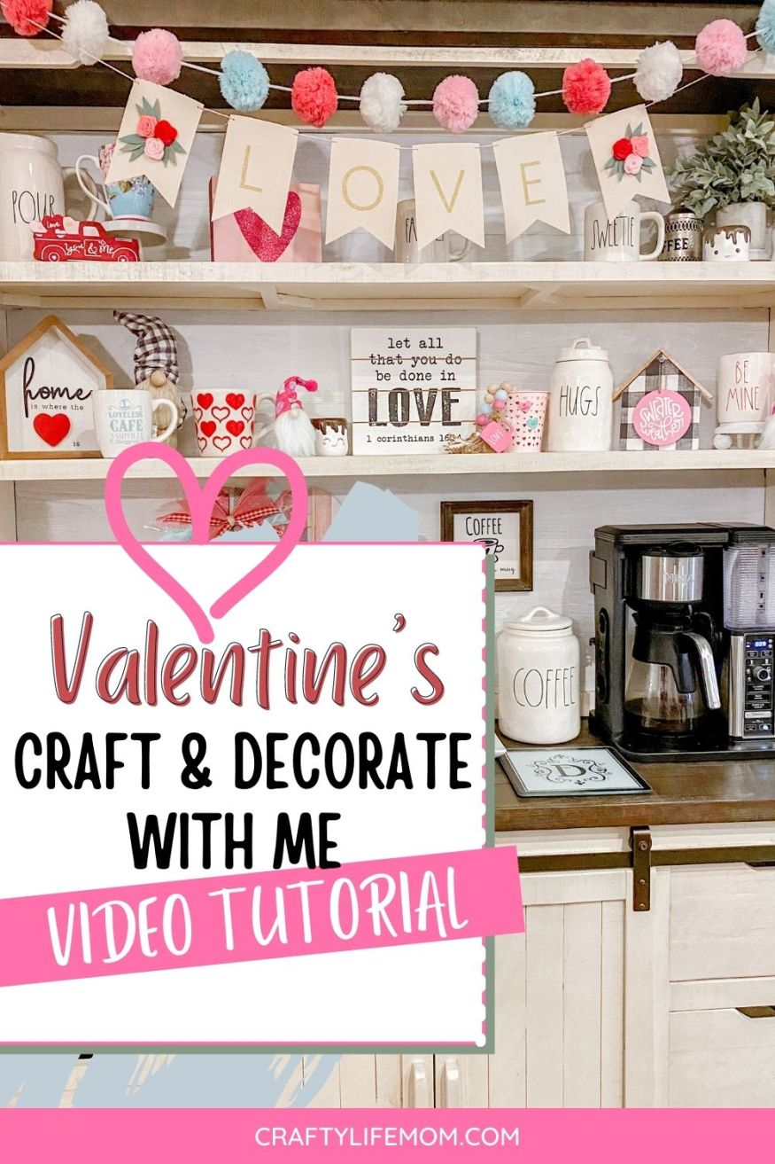 Valentines Day Decorate & Craft with me. Get ideas for home decor for Valentines day, plus a few simple craft ideas you can do to update your decor for Valentine's Day. #valentinesdaydecor #valentinescrafts