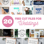 Grab these free SVG cut files or creating unique custom gifts for weddings, the bride to be, bridesmaids and so much more. Use these files for free with your cricut or silhouette cutting machine.