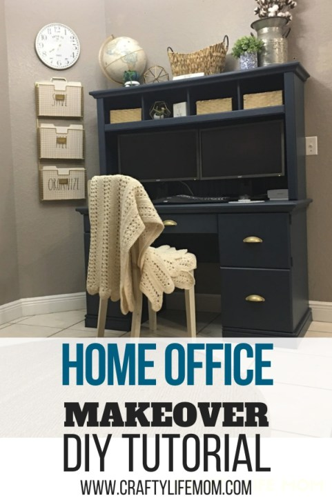 DIY Home Office Makeover. Paint an old desk form Facebook marketplace and simply update your workspace into something beautiful. #homeofficemakeover #diydesk #homeoffice #diydeskmakeover