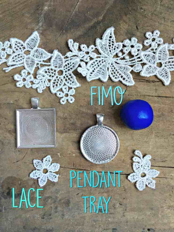 lace and clay pendant diy