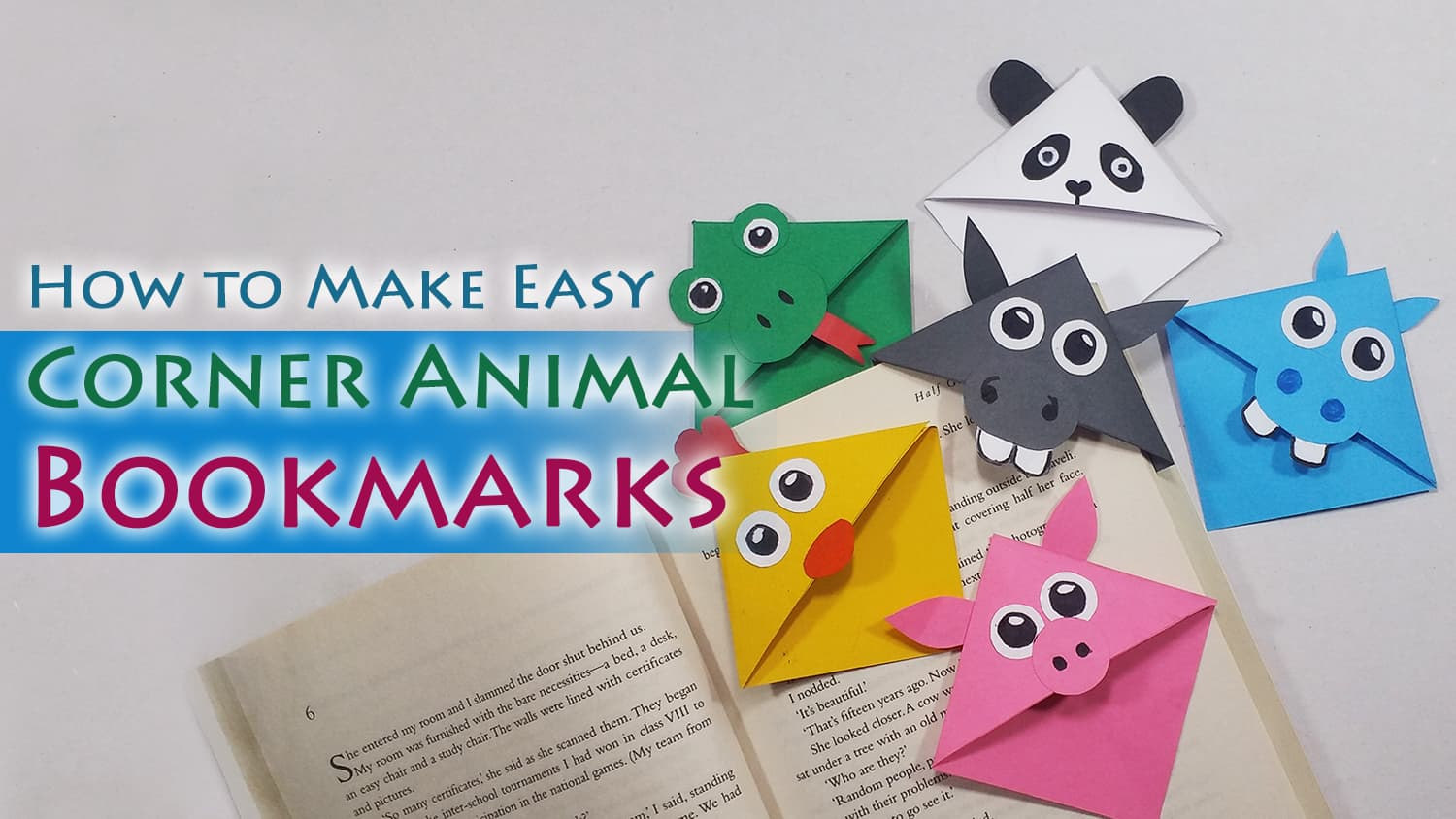how to make cute animal corner bookmarks