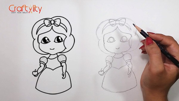 How to draw cute little Snow White - 14
