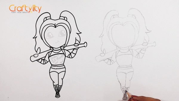 How to draw cute little Harley Quinn - 16