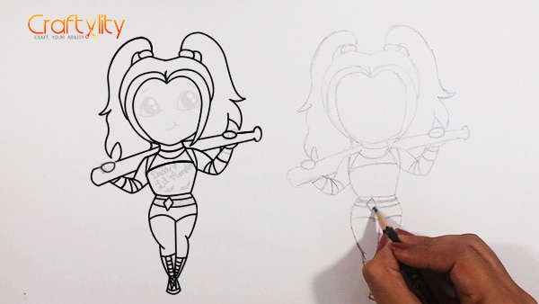 How to draw cute little Harley Quinn - 17