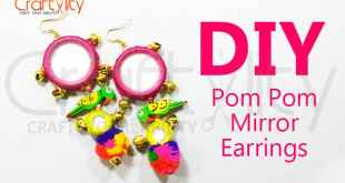 DIY Mirror Pom Pom parrot earrings