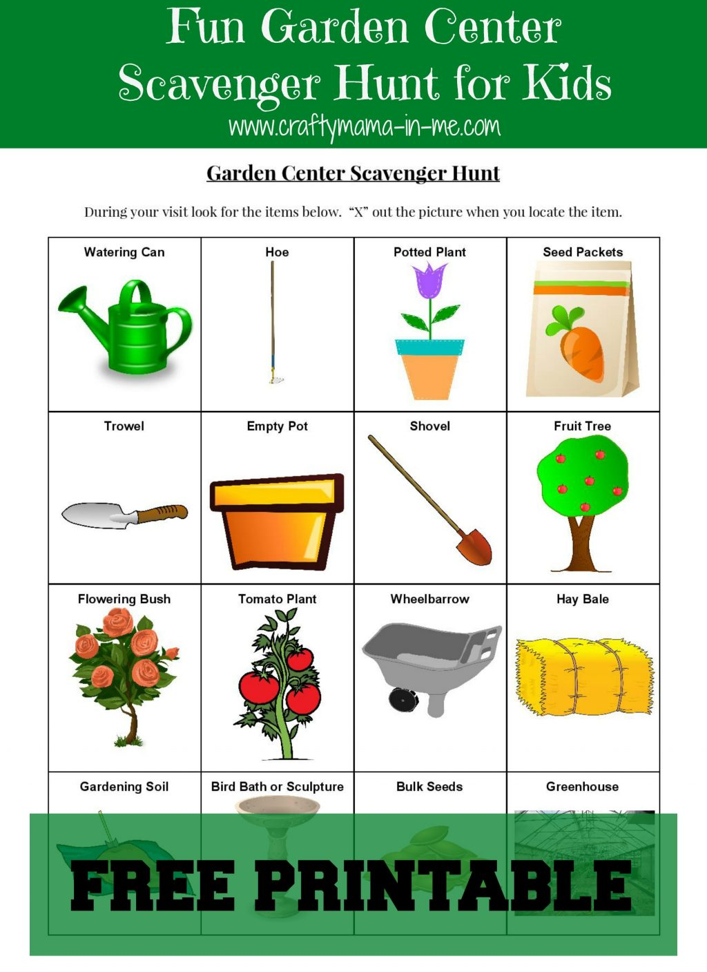 Fun Garden Center Scavenger Hunt For Kids Free Printable