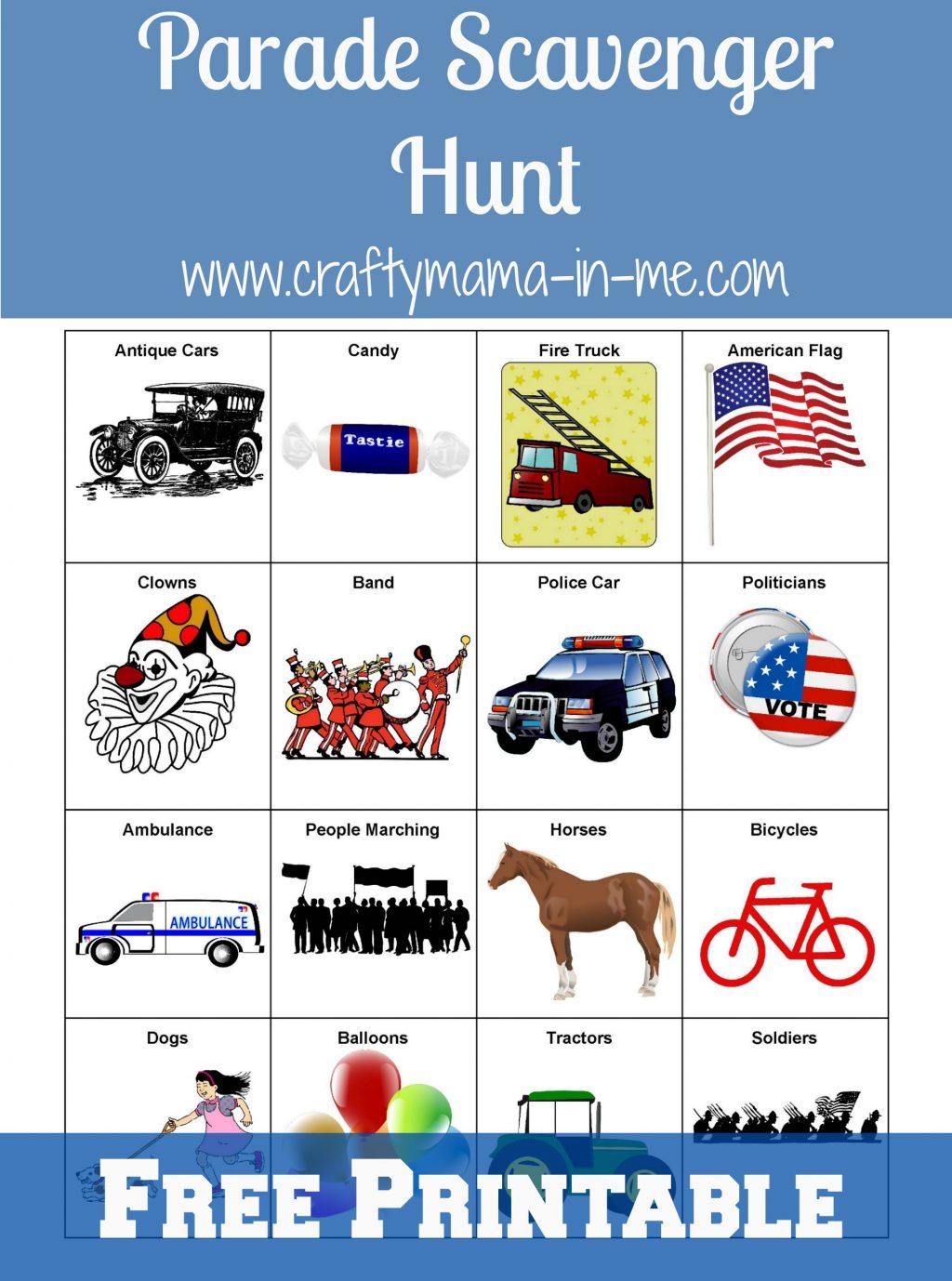 Parade Scavenger Hunt For Kids Free Printable