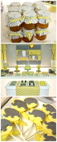 Yellow & Gray Chevron Baby Shower Ideas (Elephant Theme ...