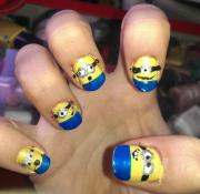 diy despicable minion nail design