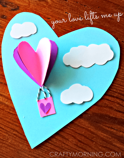 3D Heart Hot Air Balloon Valentine Card Crafty Morning