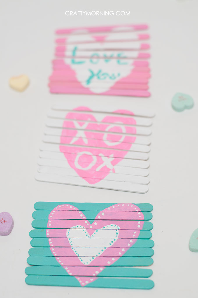 Valentines Day Popsicle Stick Puzzles Kids Craft