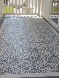 DIY Stencil Concrete Patio Rug - Crafty Morning