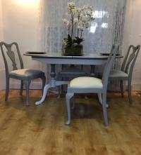 Chalk Painted Queen Anne style dining table and chairs