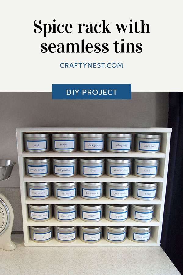 Crafty Nest spice rack with tins Pinterest photo
