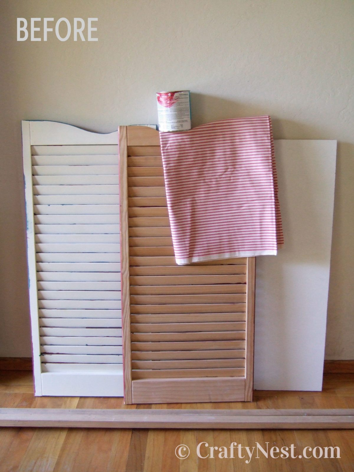 Shutters and supplies to make the bulletin board, photo