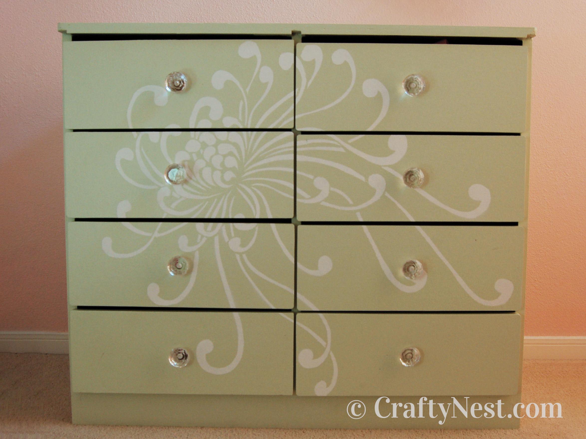 Green stenciled dresser, photo