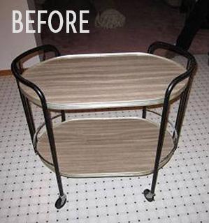 Amy Kroetsch's wallpapered cart, before photo