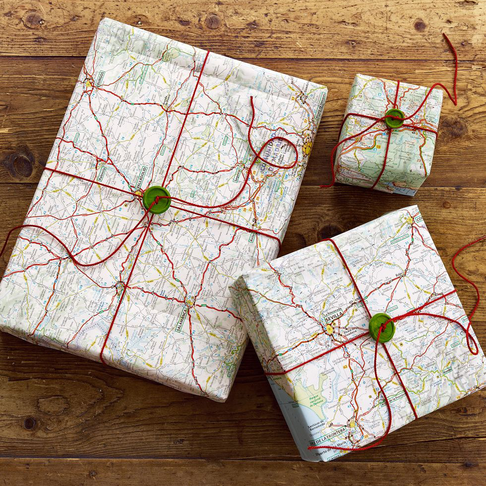 Gifts wrapped in maps, photo