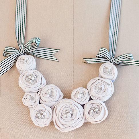 Ribbon bib necklace, photo