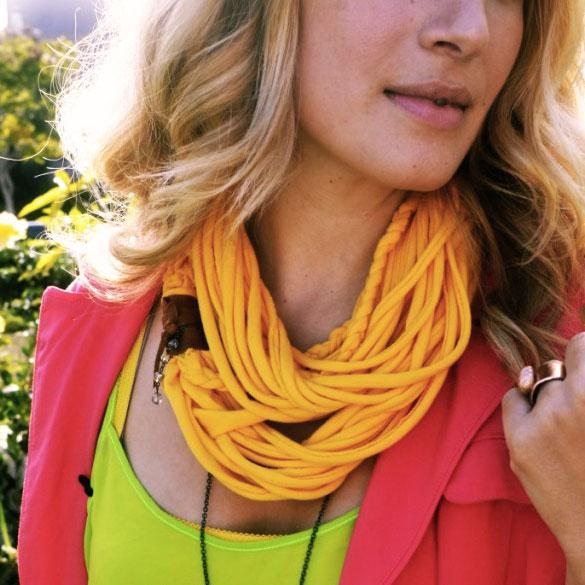 Upcycled T-shirt scarf, photo